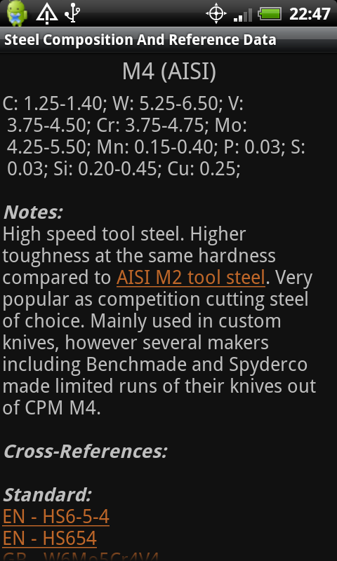 Knife Steel Chart Steel Reference Information View